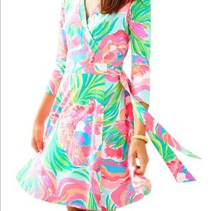 NWT Lilly Pulitzer Wrap Dress in Serene Blue Parad